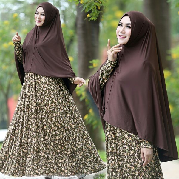 Baju Gamis Cantik Murah B125 Anjani Syar'i Coklat