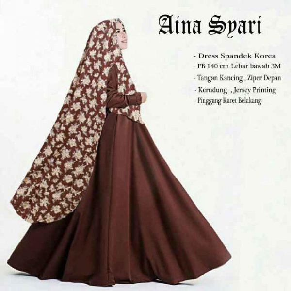 gambar Gamis Jersey Murah B122 Aina Syar'i coklat