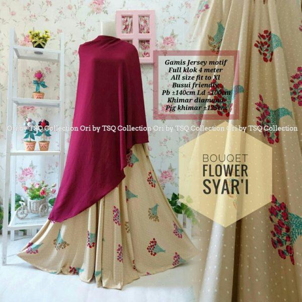 gamis jersey motif bunga