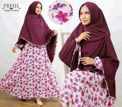 Gamis Syar I Cantik B134 Bahan Wolfis Baju Muslim Modern Butik