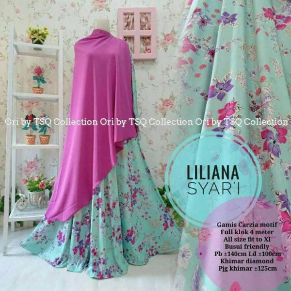 Gamis Motif Bunga Liliana Syar 39 I Jumbo Baju Muslim Terbaru