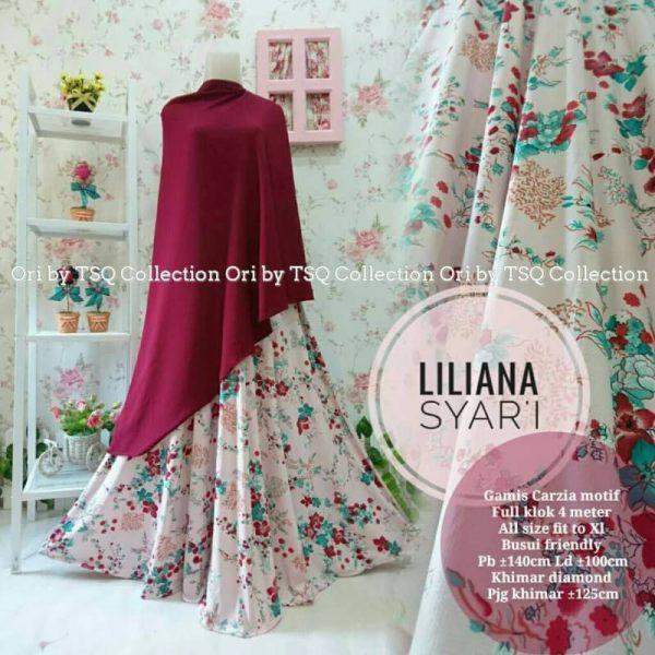 gamis-syari-liliana-pink-marun-motif-bunga