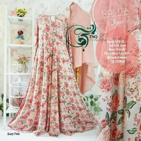 rosita syari dusty gamis motif bunga