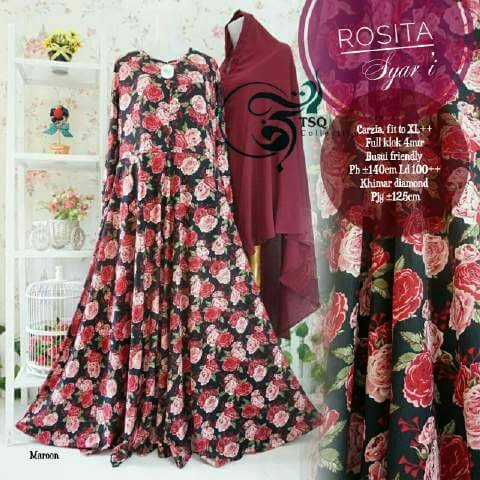 rosita syari marun gamis motif bunga