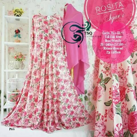 rosita syari pink gamis motif bunga