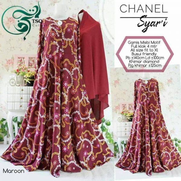 gamis misbi motif abstrak chanel maroon