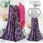 gamis misbi motif abstrak chanel ungu