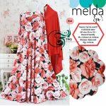 gamis motif bunga melda merah