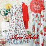rose polka gamis syari merah