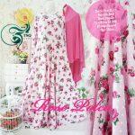 rose polka gamis syari pink