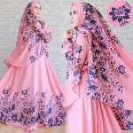 b175 gamis terbaru motif bunga pink