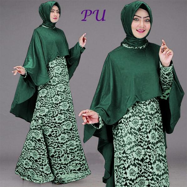 Baju Gamis Brokat Full Hijab Nemo