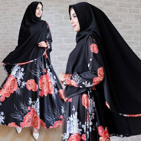 gamis cantik big flower maxmara hitam
