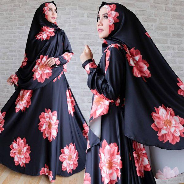gamis cantik maxmara full bunga hitam