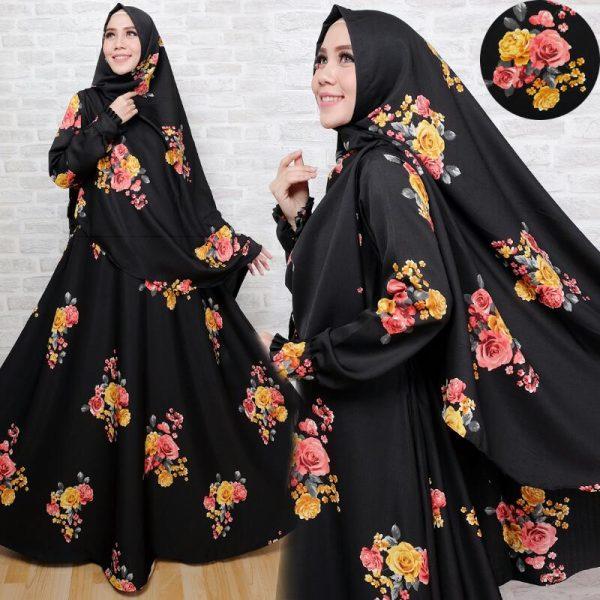gamis syar'i baloteli full bunga hitam