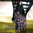 Gamis Black Flowy Syar'i Monalisa Premium