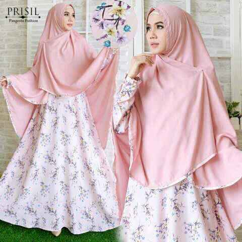 Gamis Syar'i Prisil Wolfis Wollycrepe Peach