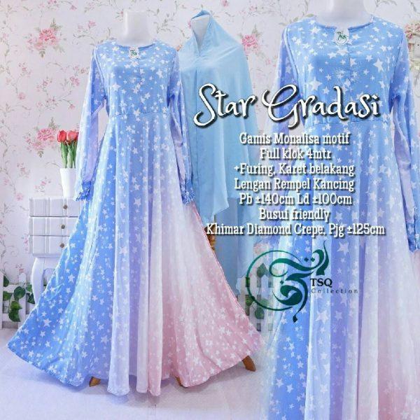 gamis cantik star gradasi blue