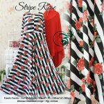 gamis jersey stripe rose hitam