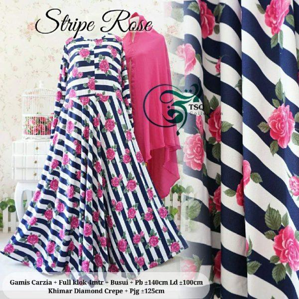 gamis jersey stripe rose navy
