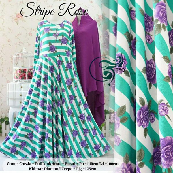 gamis jersey stripe rose tosca