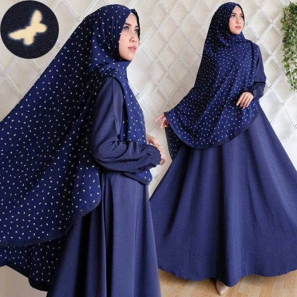 gamis syar'i wolfis bubble cute butterfly navy