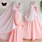 gamis syar'i wolfis bubble cute butterfly peach