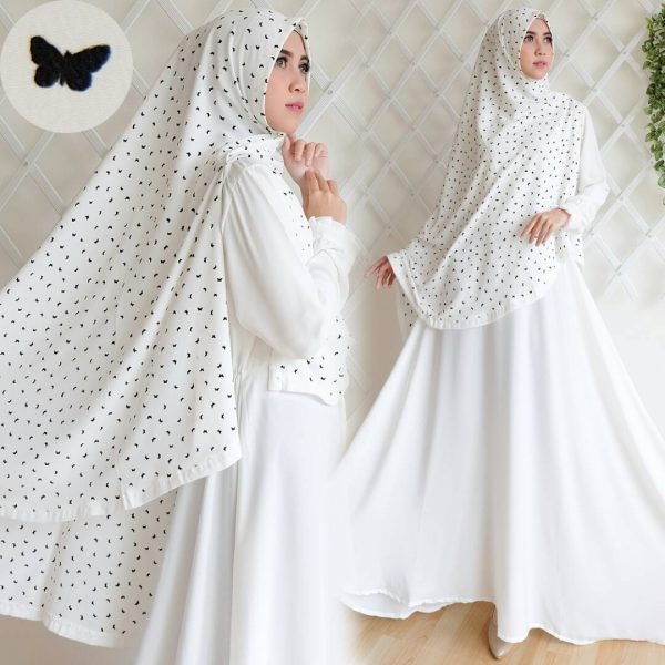 gamis syar'i wolfis bubble cute butterfly putih