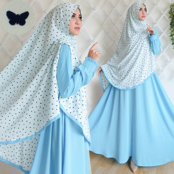 gamis syar'i wolfis bubble cute butterfly tosca