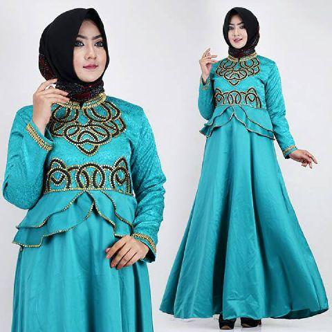 Baju Pesta Talita Satin Mix Jaguard Busana Muslim Modern