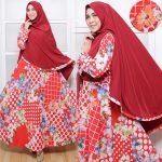 Gamis Syar'i Bahan Katun C010 Merah Maroon