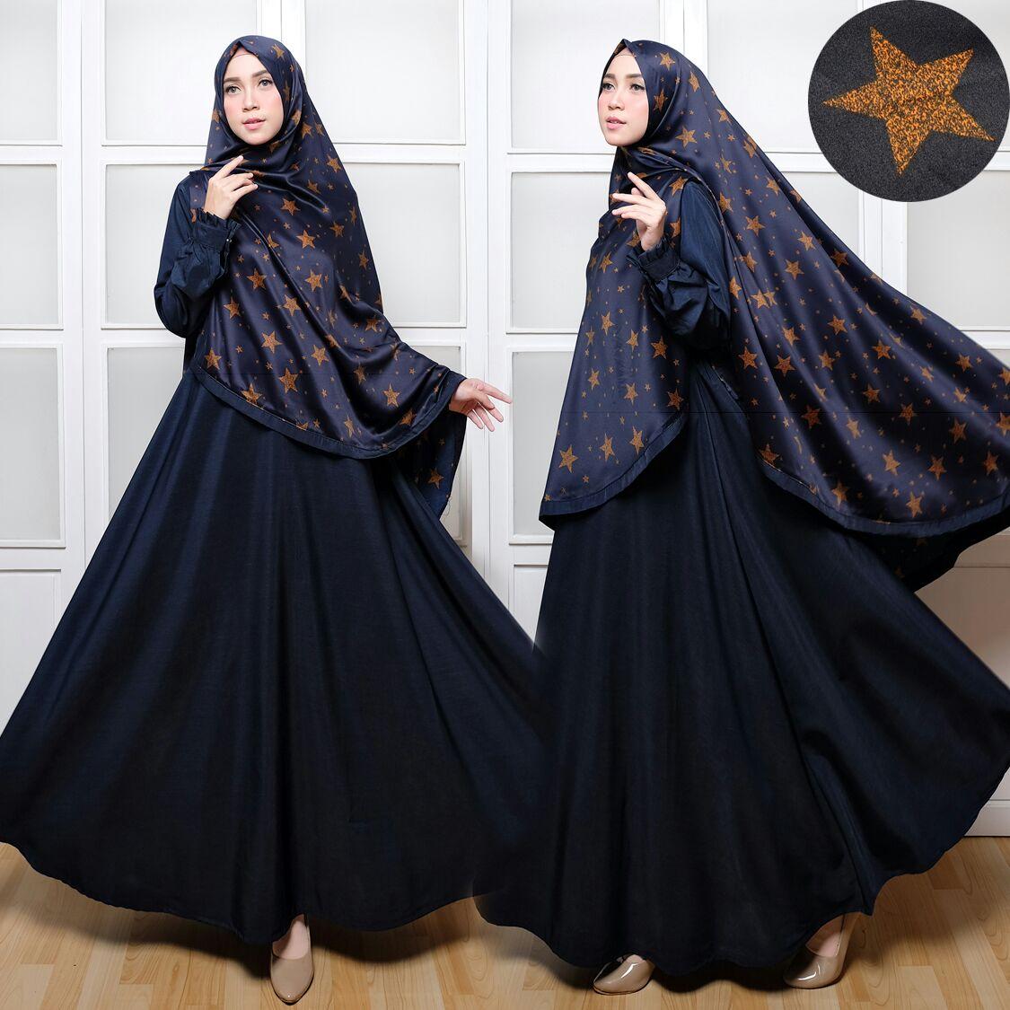 Baju Gamis Maxmara Motif Bintang Busana Muslim Hitam Butik Jingga