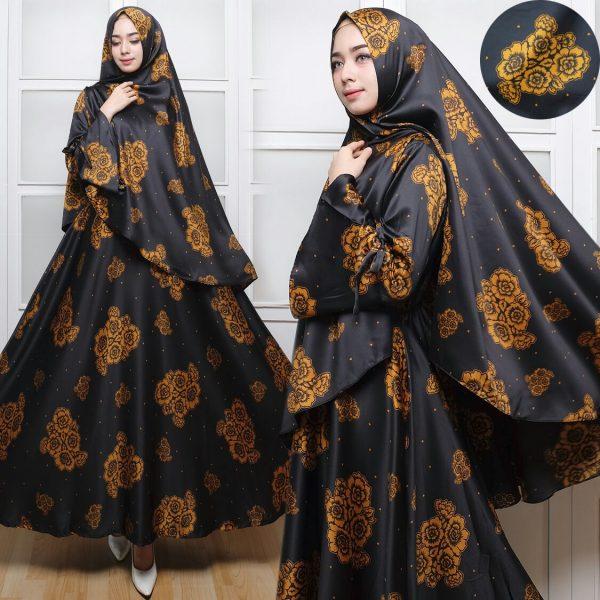 Gamis Syar'i Satin Mawar 2 Black