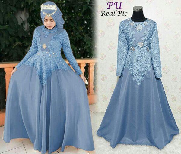 Baju-Pesta-Brokat-Diana-Blue