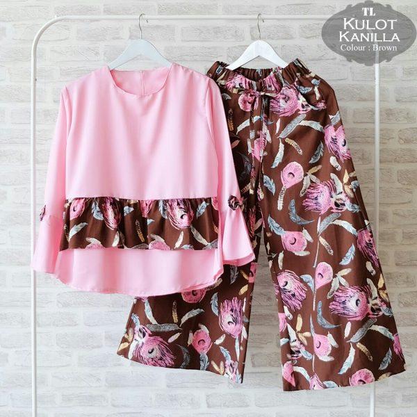 CS023-Setelan-Wanita-Kulot-Kanilla-Coklat-tua-Pink