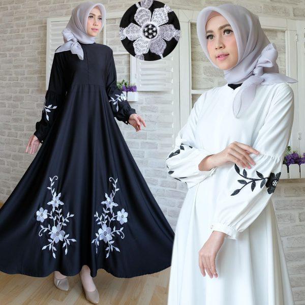 Baju Maxi Dress Baloteli Bordir Gamis Hitam Putih Polos