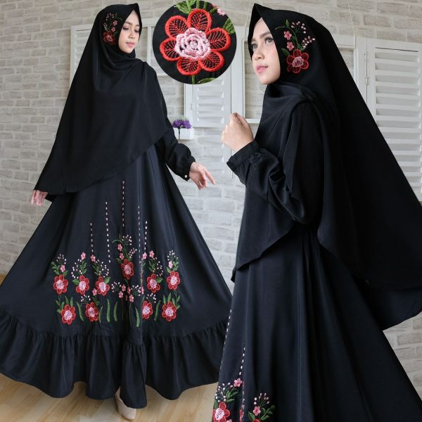 Baju Gamis Syari Woolpeach Bordir Busana Muslim Modern