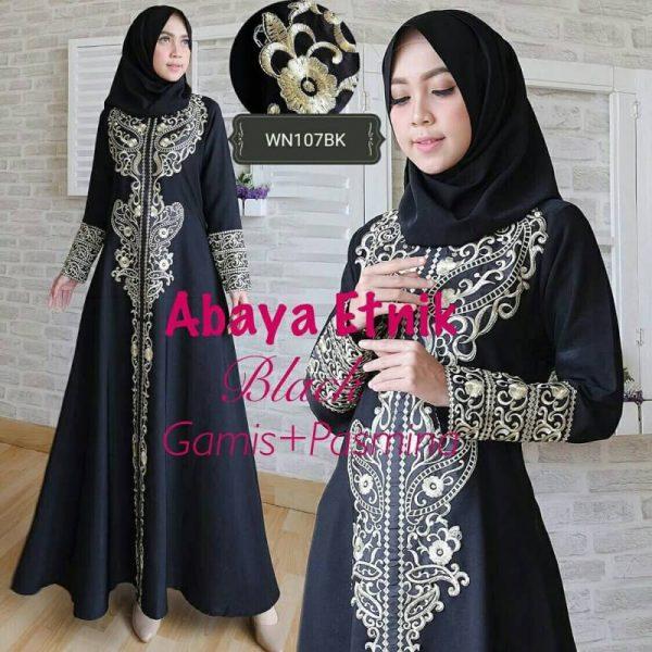 Gamis Abaya Bordir Etnik Hitam Model Baju Muslim Pesta