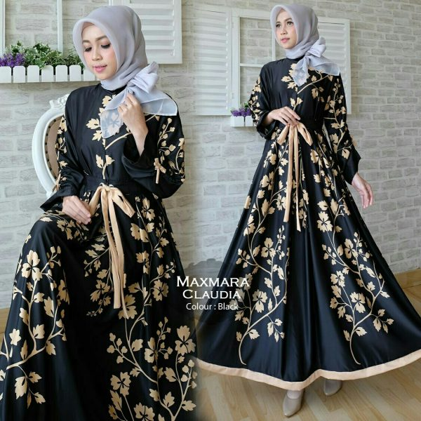 Gamis Modern Claudia Maxi Maxmara Baju Muslim Cantik