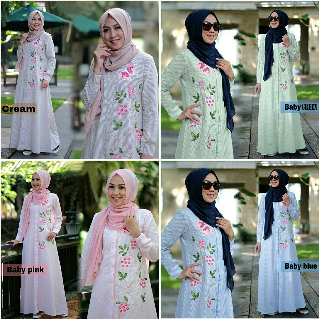 Gamis Modern Zahra Katun Bordir Baju Muslim Remaja Casual