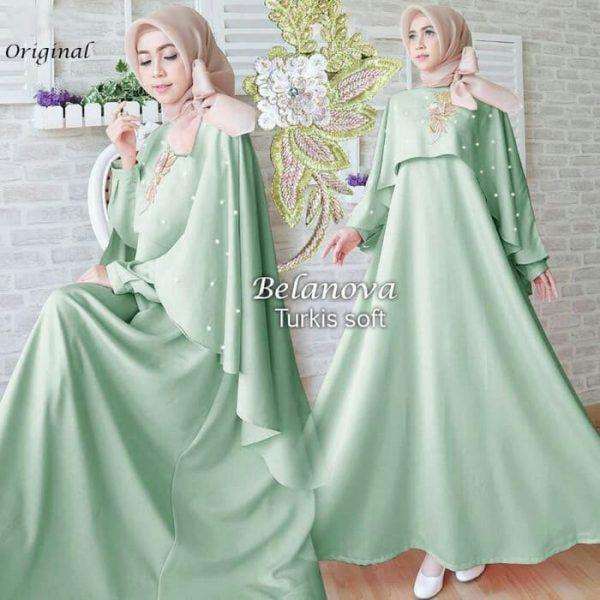 baju gamis pesta belanova hijau
