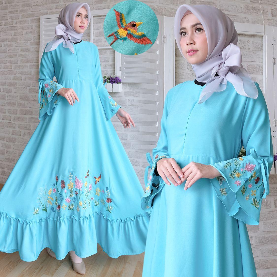 Gamis modern crepe aplikasi bordir baju muslim remaja Baju gamis remaja