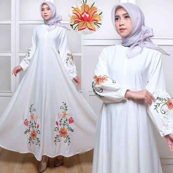 Gamis Dress Polos C035 Baloteli Bordir Hitam Putih Murah Butik Jingga