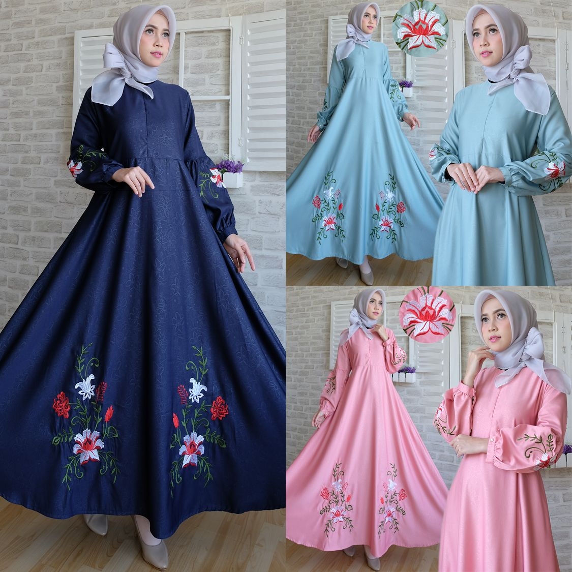Maxi Dress Brokat Terbaru Butik Ahzaku Allura Brukat Vol