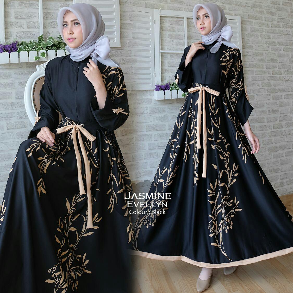 Baju Gamis Modern Jasmine Maxi Busana Muslim Remaja Butik Jingga