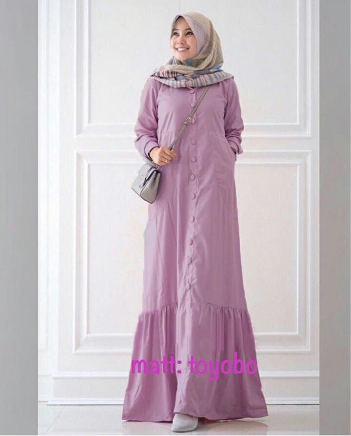 Busana Muslim Katun Toyobo Rayna Maxi Gamis Modern Terbaru Butik