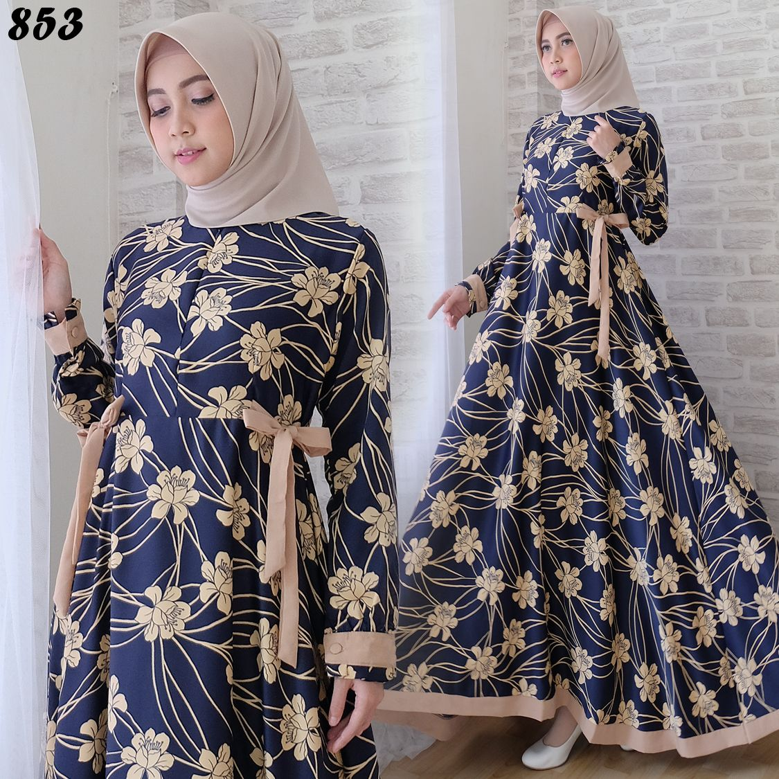 Gamis Cantik Maxmara Bunga C10  Baju Muslim Modern - Butik Jingga