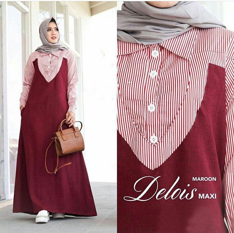 Gamis Remaja Terbaru Maxi Delois Baju Muslim Modern