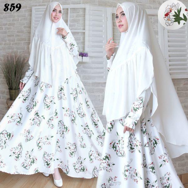 Baju muslim maxmara syari c859 busana gamis terbaru Baju gamis putih murah