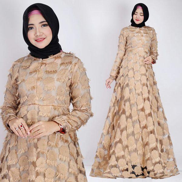 Gamis Pesta Organza Embos 2 Baju Muslim Modern Butik Jingga
